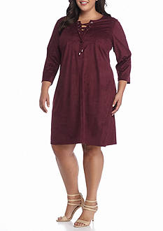 Tiana B Plus Size Faux Suede Lace-Up Front Shift Dress