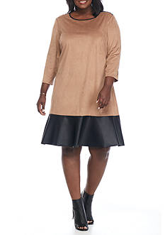Tiana B Plus Size Colorblock Shift Dress with Faux Leather Trim