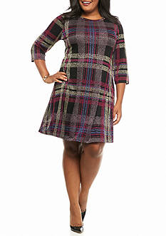 Tiana B Plus Size Plaid Trapeze Dress