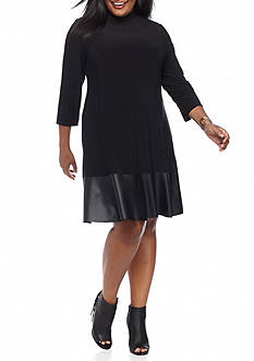 Tiana B Plus Size Mock Neck Trapeze Dress with Faux Leather Trim