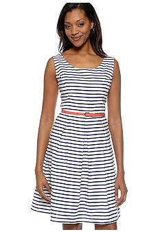 Tiana B Stripe Belted Dress