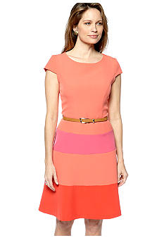 Tiana B Cap-Sleeved Colorblock Belted Dress