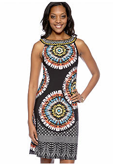 Tiana B Sleeveless Printed Shift Dress with Embellished Neckline