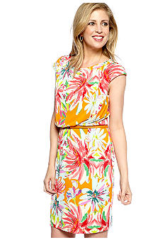 Tiana B Petite Cap-Sleeved Floral Print Belted Dress