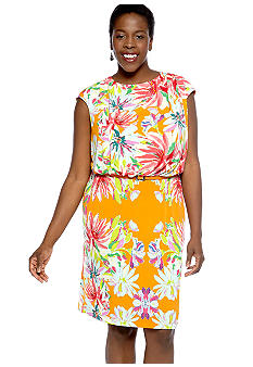 Tiana B Plus Size Cap-Sleeved Floral Print Belted Dress