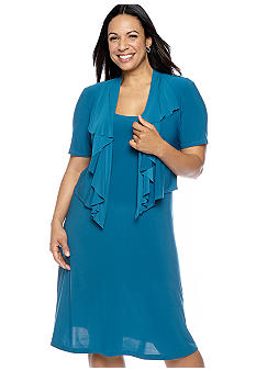 Plus Size Short-Sleeved Matte Jersey Jacket Dress