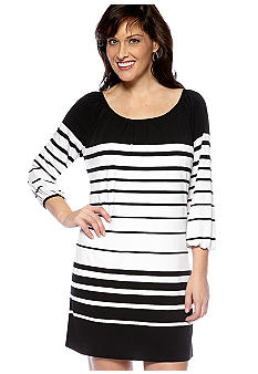 Tiana B Striped Bishop Sleeve Dress
