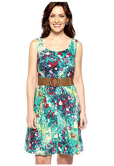 Tiana B Sleeveless Floral Print Fit and Flare Dress