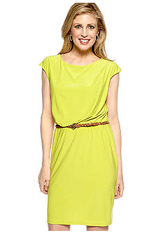 Tiana B Cap-Sleeved Belted Dress
