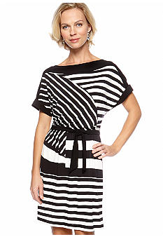 Tiana B Striped Dolman Sleeve Dress