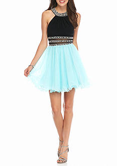 Blondie Nites Bead Embellished Halter Party Dress