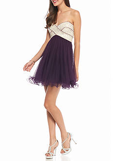 Blondie Nites Strapless Pearl Embellished Party Dress