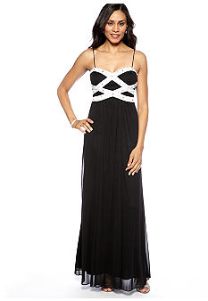 Blondie Nights Spaghetti Strap Sheer Matte Jersey Beaded Gown