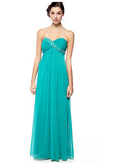 Blondie Nights Long Strapless Gown with Beaded Detail