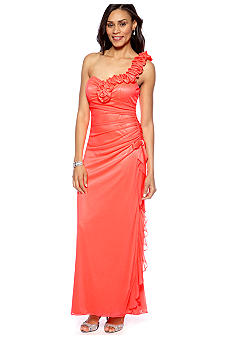 Blondie Nights One Shoulder Sheer Matte Jersey Gown