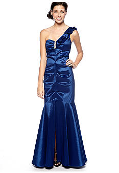 Blondie Nights One Shoulder Ruffle Taffeta Gown