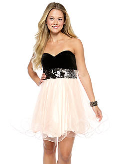 Blondie Nites Strapless Party Dress with Sequins