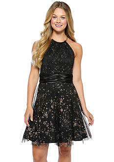 Blondie Nites Star Glitter Mesh Party Dress