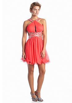 Blondie Nites Sequin Halter Cocktail Dress