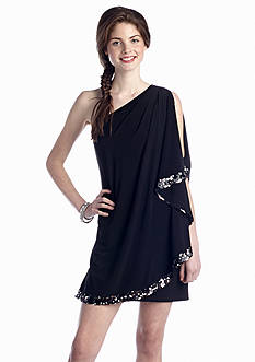 Blondie Nites One Shoulder Bat Wing Dress with Sequin
