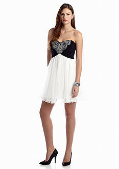 Blondie Nites Fit and Flare Cocktail Dress with Bead Embellishment
