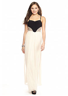 Blondie Nites Two-Tone Bead Embellished Gown