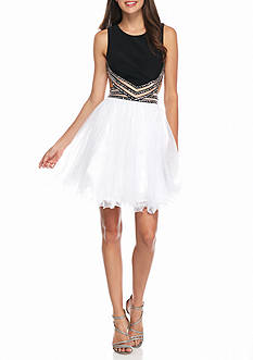 Blondie Nites Bead Embellished Fit and Flare Party Dress
