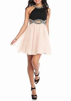 Blondie Nites Bead Embellished Party Dress