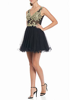 Blondie Nites Embroidered Mesh Bodice Party Dress