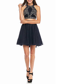 Blondie Nites Two-Piece Bead Embellished Skirt Set with Open Back