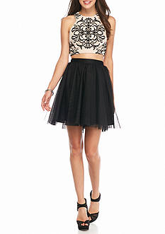 Blondie Nites Two-Piece Tattoo Applique Skirt Set