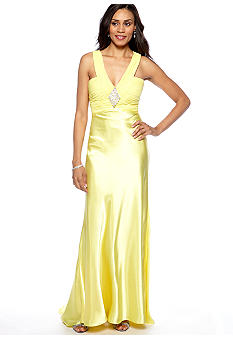 Morgan Halter Gown with Rhinestone Brooch and Back Train