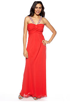 Morgan Chiffon Halter Gown with Stone Detail Straps