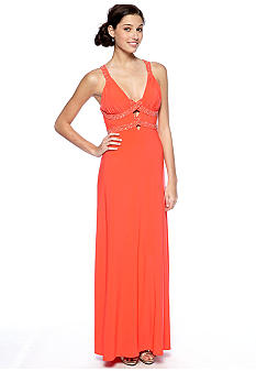 Morgan Long Jersey Gown with Crisscross Beaded Straps