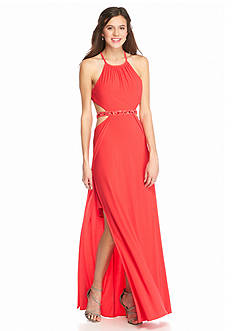 Morgan & Co Beaded Waist Halter Gown