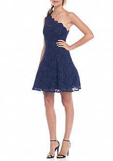 Morgan & Co One Shoulder Lace Party Dress