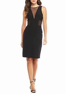 Morgan & Co Illusion Mesh Cutout Sheath Dress