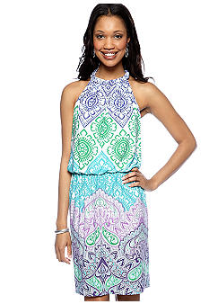London Times Braided Halter Printed Blouson Dress