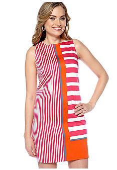 London Times Sleeveless Stripe Shift Dress