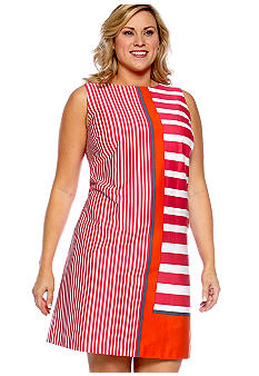 London Times Plus Size Sleeveless Stripe Shift Dress