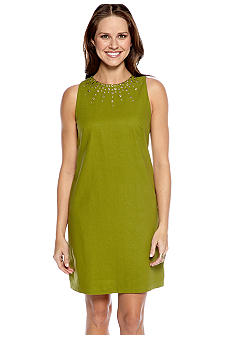 New Directions Plus Size Sleeveless Shift Dress with Embellished Neckline