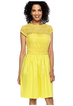 Suzi CHIN - maggy boutique Cap-Sleeved Dress with Crochet Lace Bodice