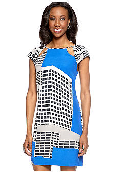 Ivy & Blu/maggy boutique Cap-Sleeved Printed Sheath Dress