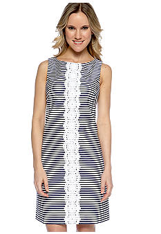 Ivy & Blu/maggy boutique Sleeveless Striped Sheath with Lace