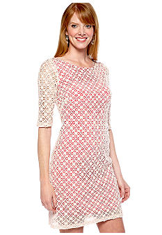 Ivy & Blu/maggy boutique Elbow-Sleeved Allover Lace Sheath Dress