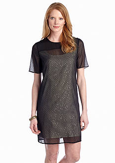Ivy & Blu/maggy boutique Swiss Dot Overlay Shift Dress