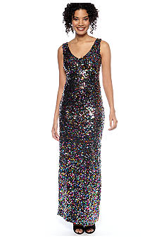 Cachet Sleeveless Allover Sequin Dress
