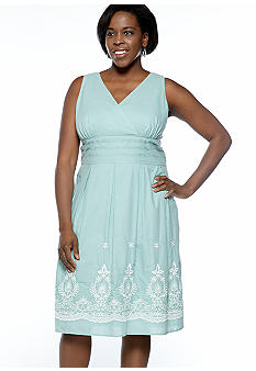 Connected Apparel Plus Size Sleeveless Embroidered Border Dress