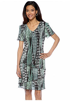 Connected Apparel Short-Sleeved Printed Tiered Shift Dress