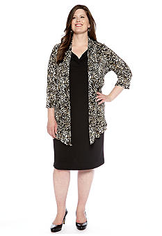 Connected Apparel Plus Size Three-Quarter Sleeved Mock Jacket Dress